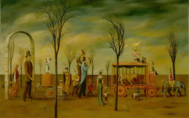 Circus Parade, Oil on board, 24.063×36.063 inches, 1965