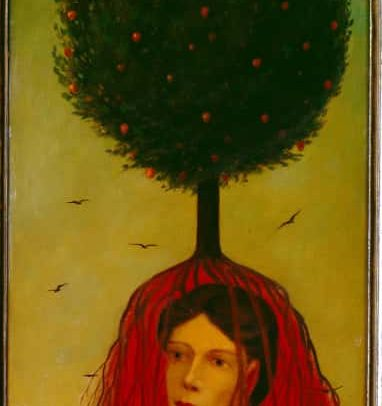 Fruit Tree I, Oil on board, 26×12 inches, 1968
