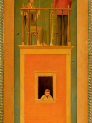The Tower III, Oil on board, 29.75×9 inches, 1974