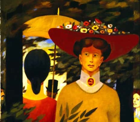 A Walk in the Shade, Oil on board, 30.5×17.125 inches, 1991