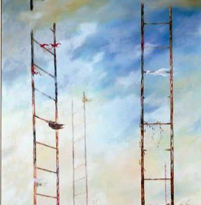 Escape I, Oil on board, 48 x 23.5 inches, 1960