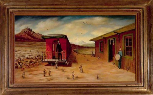 Last Campaign, Oil on board, 17.125×30.125 inches, 1964